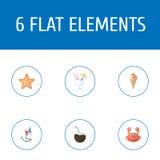 Flache Ikonen Sorbet, Cocos, Getränk und andere Vektor-Elemente Satz Strand-flache Ikonen-Symbole umfasst auch Spielzeug, Starfis Stockbild