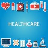 Flache Ikonen stellten von den medizinischen Werkzeugen und von den Gesundheitswesengeräten, von der Wissenschaftsforschung und v Stockbild