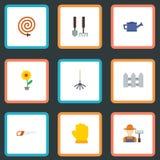 Flache Ikonen Züchter, Gießkanne, Garten-Schlauch und andere Vektor-Elemente Satz im Garten arbeitende flache Ikonen-Symbole auch stock abbildung