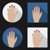 Flache Ikonenfrauenhand Stockfoto