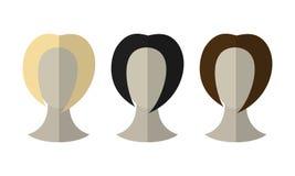 Flache Ikonenfrisuren Blondine, Brunette Verschiedene Farbhaarperücken vektor abbildung
