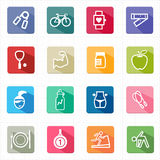 Flache Ikonengesundheitsweseneignung und weißer Hintergrund Stockfotos