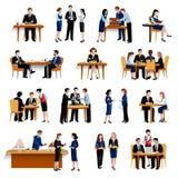Flache Ikonensammlung der Business-Lunch-Pause Stockbilder