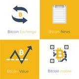 Flache Ikonenschablone Bitcoin Lizenzfreie Stockfotografie