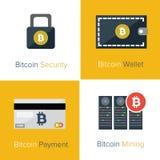 Flache Ikonenschablone Bitcoin Stockfoto
