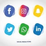 Flache Ikonentechnologie, Social Media, Netz, Computerkonzept Abstrakter Hintergrund mit Gegenstandelementgruppe Sternsmiley f Stockfotos