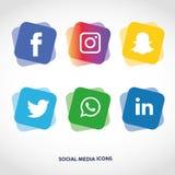Flache Ikonentechnologie, Social Media, Netz, Computerkonzept Abstrakter Hintergrund mit Gegenstandelementgruppe Sternsmiley f Lizenzfreie Stockfotografie