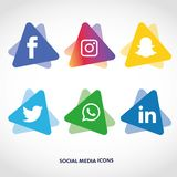 Flache Ikonentechnologie, Social Media, Netz, Computerkonzept Abstrakter Hintergrund mit Gegenstandelementgruppe Sternsmiley f Stockfoto
