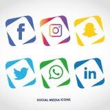 Flache Ikonentechnologie, Social Media, Netz, Computerkonzept Abstrakter Hintergrund mit Gegenstandelementgruppe Sternsmiley f Lizenzfreie Stockfotos