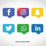 Flache Ikonentechnologie, Social Media, Netz, Computerkonzept Abstrakter Hintergrund mit Gegenstandelementgruppe Sternsmiley f Stockbilder