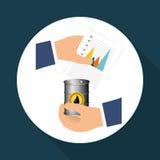 Flache Illustration über Ölpreis-, Erdöl- und Gaskonzepte Stockbild