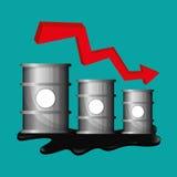 Flache Illustration über Ölpreis-, Erdöl- und Gaskonzepte Stockbilder