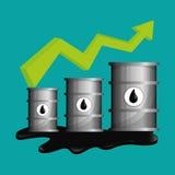 Flache Illustration über Ölpreis-, Erdöl- und Gaskonzepte Stockfotos