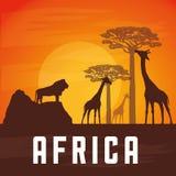 Flache Illustration über Afrika-Design Lizenzfreie Stockfotografie
