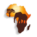 Flache Illustration über Afrika-Design Lizenzfreie Stockfotos