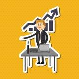 Flache Illustration über Wirtschaftler entwerfen, vector Karikatur Lizenzfreie Stockfotos