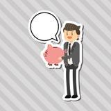 Flache Illustration über Wirtschaftler entwerfen, vector Karikatur Lizenzfreie Stockfotografie