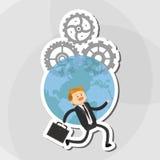 Flache Illustration über Wirtschaftler entwerfen, vector Karikatur Lizenzfreies Stockfoto