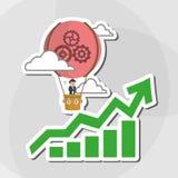 Flache Illustration über Wirtschaftler entwerfen, vector Karikatur Lizenzfreie Stockbilder