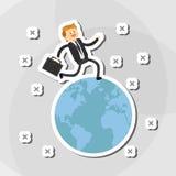 Flache Illustration über Wirtschaftler entwerfen, vector Karikatur Stockbild