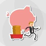 Flache Illustration über Wirtschaftler entwerfen, vector Karikatur Lizenzfreies Stockbild