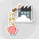 Flache Illustration über Wirtschaftler entwerfen, vector Karikatur Stockbilder