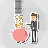 Flache Illustration über Wirtschaftler entwerfen, vector Karikatur Stockfotos