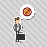 Flache Illustration über Wirtschaftler entwerfen, vector Karikatur Stockfoto