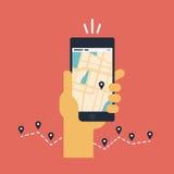 Flache Illustration beweglicher GPS-Navigation Stockfotos