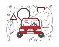 Flache Illustration in den Linien mit Mädchen in einem Auto Automobil-concep lizenzfreie abbildung