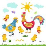 Flache Illustration der Bauernhofvogelfamilien-Karikatur Hahnhennenhuhn auf weißem Hintergrund Stockbild