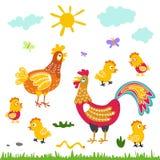Flache Illustration der Bauernhofvogelfamilien-Karikatur Hahnhennenhuhn auf weißem Hintergrund Stockbilder
