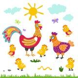 Flache Illustration der Bauernhofvogelfamilien-Karikatur Hahnhennenhuhn auf weißem Hintergrund Lizenzfreies Stockfoto