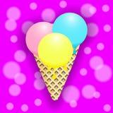 Flache Illustration der Eistüte auf rosa Hintergrund Lizenzfreies Stockbild