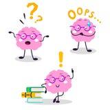 Flache Illustration der Gehirnvektorspaßcharakter-Karikatur lizenzfreie abbildung