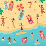 Flache Illustration der Karikatur mit Leuten auf dem Sommer setzen auf den Strand Stockbilder