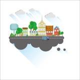 Flache Illustration der Kleinstadt Stockfoto