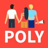 Flache Illustration der polyamorous Liebe der Partner Offene romantische und sexuelle Verh?ltnisse Liebende Leute des Verh?ltniss stock abbildung