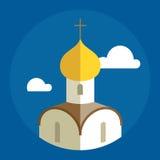 Flache Illustration der russischen orthodoxen Kathedralen-Kirche Lizenzfreie Stockfotografie