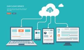Flache Illustration der Wolkentechnologie lizenzfreie stockfotos