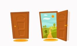 Flache Illustration des bunten Vektors der Karikatur der offenen Tür lizenzfreie abbildung