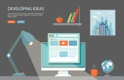 Flache Illustration des Desktops mit Computer und Lampe Stockfotografie