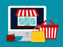 Flache Illustration des Einkaufsdesigns Stockbild