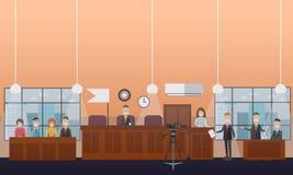 Flache Illustration des Gerichtsverhandlungskonzept-Vektors Stockfoto
