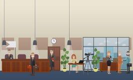 Flache Illustration des Gerichtsverhandlungskonzept-Vektors Lizenzfreie Stockfotografie