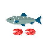 Flache Illustration des Lachsfischvektors Lizenzfreie Stockfotos