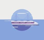 Flache Illustration des modernen Hochgeschwindigkeitszuges lizenzfreie abbildung