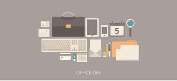 Flache Illustration des modernen und klassischen Bürolebens Stockfotografie