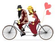 Flache Illustration des netten Vektors des glücklichen jungen Mannes und der Frau mit Stockfoto