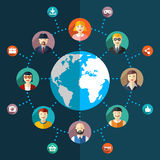 Flache Illustration des Sozialen Netzes mit Avataras Stockfotografie